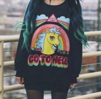sweatshirt hoodie black pony colorful colour go to hell
