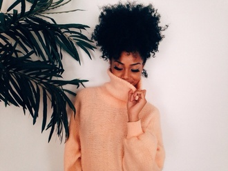 top coral oversized sweater black girls killin it