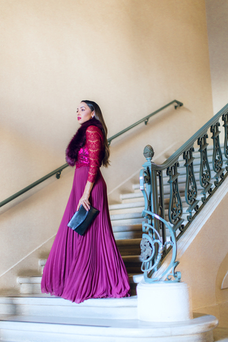 dress tumblr long sleeves long sleeve dress purple purple dress long dress maxi dress pleated pleated dress bag black bag fur scarf scarf cocktail dress bridesmaid long bridesmaid dress prom dress prom gown