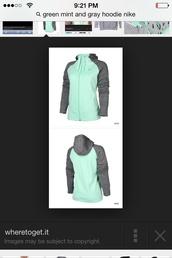 sweater,green mint and gray nike hoodie,mint green gray nike zip up hoodie,jacket,mint nike,hoodie,hoodie jacket,nike hoodie,nike jacket,mint,grey,nike,dress,dress red prom
