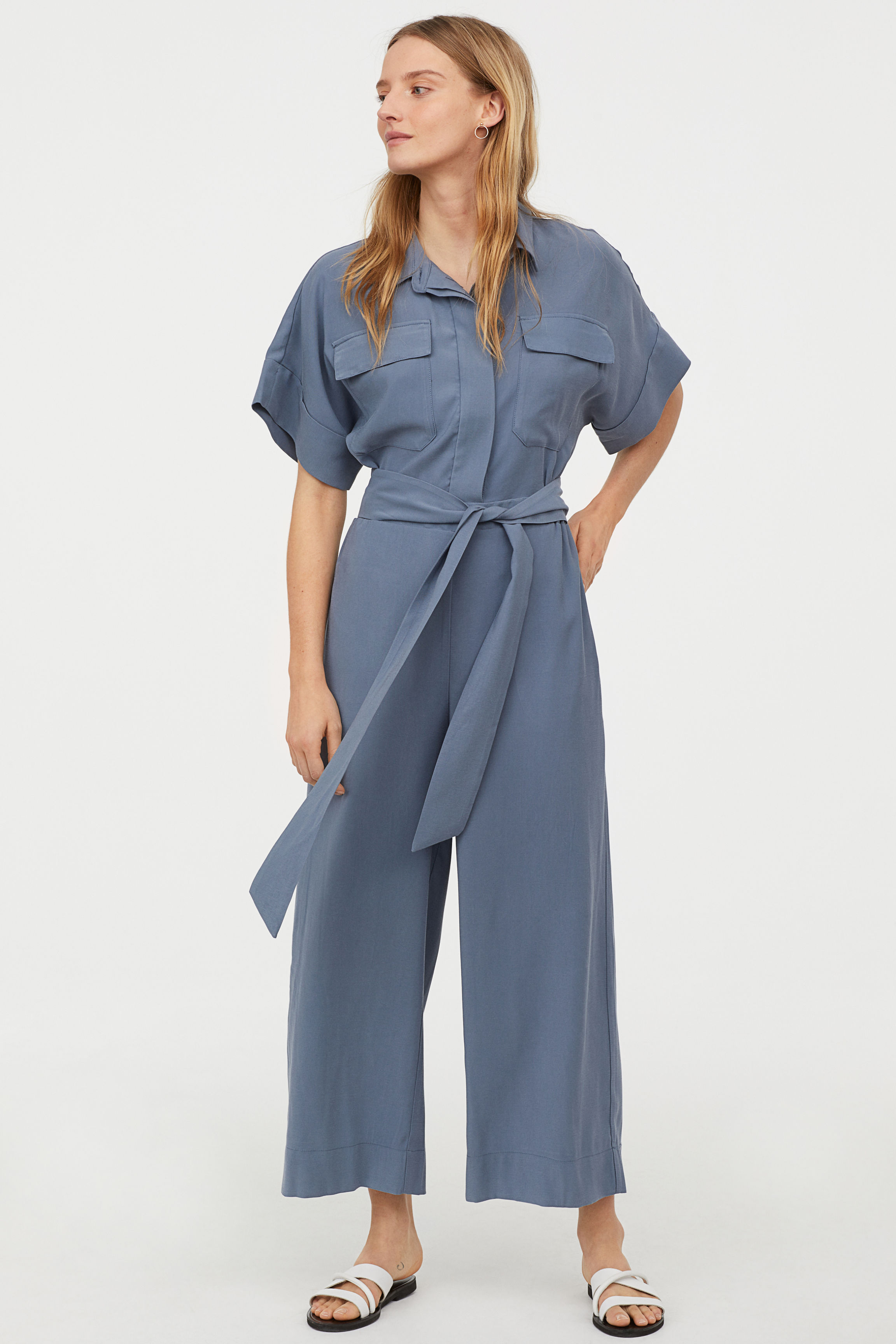Jumpsuit mit Bindegürtel - Graublau - Ladies | H&M AT