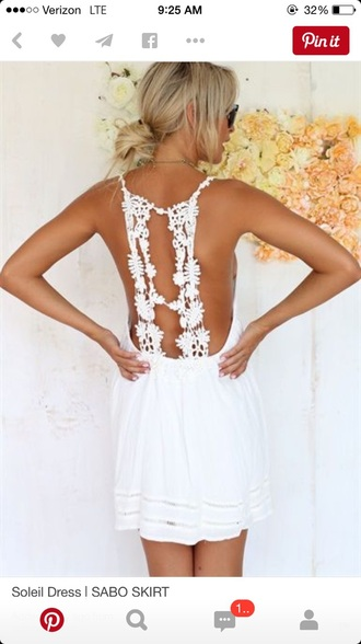 dress girl girly girly wishlist white white dress crochet crochet dress mini dress cute open back