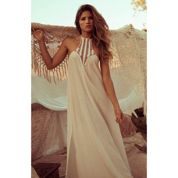 Aliexpress Com Buy Nextshe Free Shipping Casual Women Loose Chiffon Dress Plain White Crochet Spliced Maxi Beach Chiffon Dress For Women From