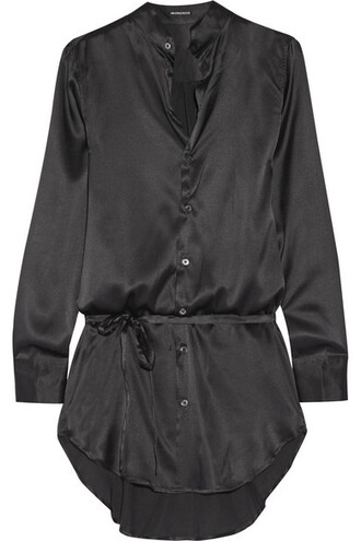 shirt black silk satin top