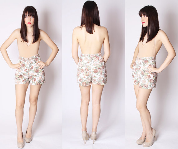 Soft Grunge White Floral Denim Jean Shorts Mocha by aiseirigh