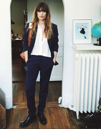 pants caroline de maigret fashionista office outfits blue pants shirt white shirt blazer blue blazer bag brown bag shoes black shoes