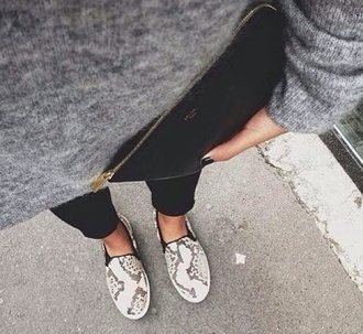 shoes snake print black and white monochrome celine snake leather slip on shoes sneakers snake skin beige croco grey love lovely beautiful happy