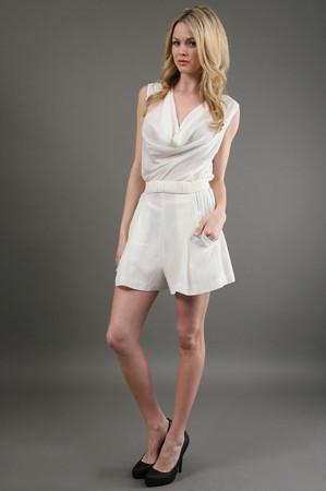 Drape neck romper in white: buy zoa at couturecandy.com