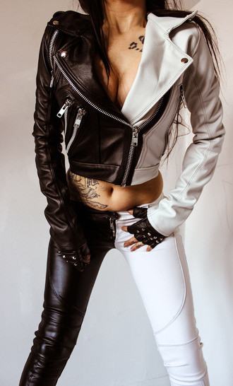 jacket black and white pants girl punk rock tattoo glowes black white bottom hair leather jacket zip studs studded jacket accessories