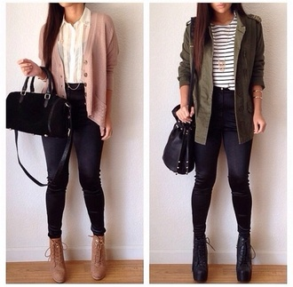 blouse shirt pants jacket shoes classy chiffon blouse oversized cardigan skinny jeans handbag brown booties black booties army green jacket women shoulder bags striped shirt sweater bag cardigan