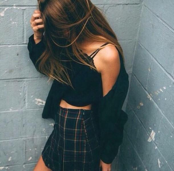 cardigan shirt skirt top american apparel coat summer black top pretty kardigan high waisted skirt black grunge hair body goals black crop top