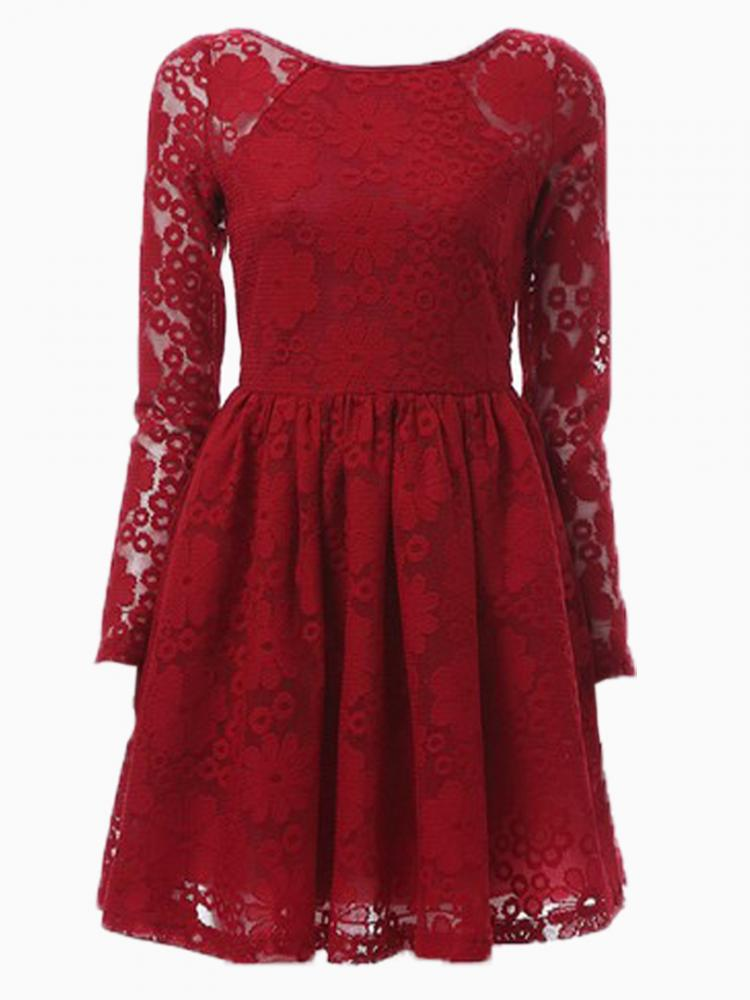 Red lace high waist pouf dress