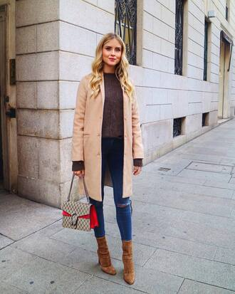 coat tumblr camel camel coat sweater knit knitwear knitted sweater boots brown boots suede boots denim jeans blue jeans
