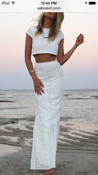 dress set set twin-set white lace lace top sabo skirt two-piece top and skirt tank top skirt long skirt white shimmer lace over the shoulder sleeve