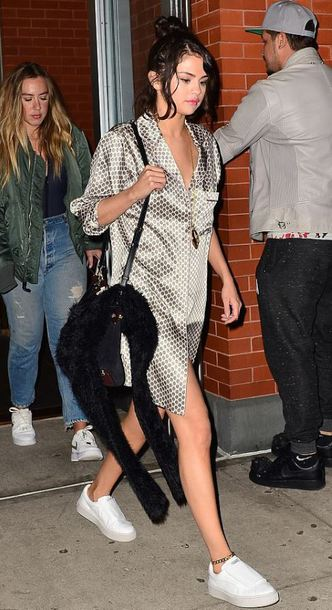 dress pajamas sneakers selena gomez streetstyle fall outfits shirt dress