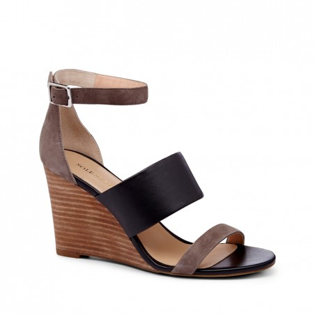 Women's Cloud Black  3 1/4 Inch  Colorblock Wedge | Kea by Sole Society