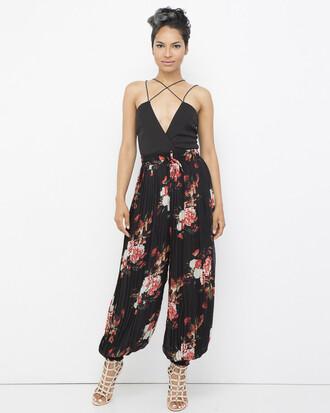 top pants harem pants pleated pleated pants black pants black harem pants floral