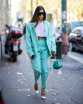 jacket,blazer,oversized,pants,mint,high waisted pants,pumps,cropped t-shirt,handbag,sunglasses