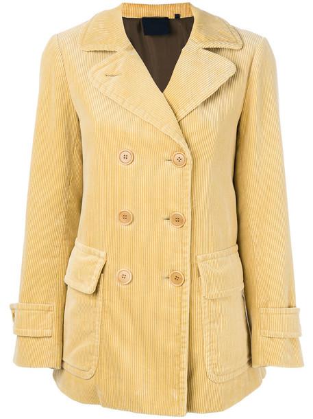 Aspesi - double breasted corduroy coat - women - Cotton/Polyamide/Polyester/Wool - 44, Yellow/Orange, Cotton/Polyamide/Polyester/Wool