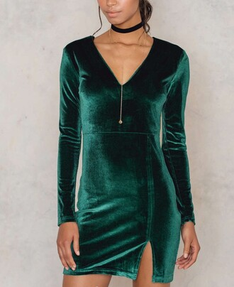 dress na-kd velvet long sleeves fashion style trendy sexy stylish fall outfits