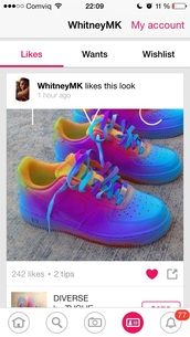 shoes,rainbow shoes,rainbow,nike,red,blue,yellow,nike air force,air force high,air max,nike air force 1