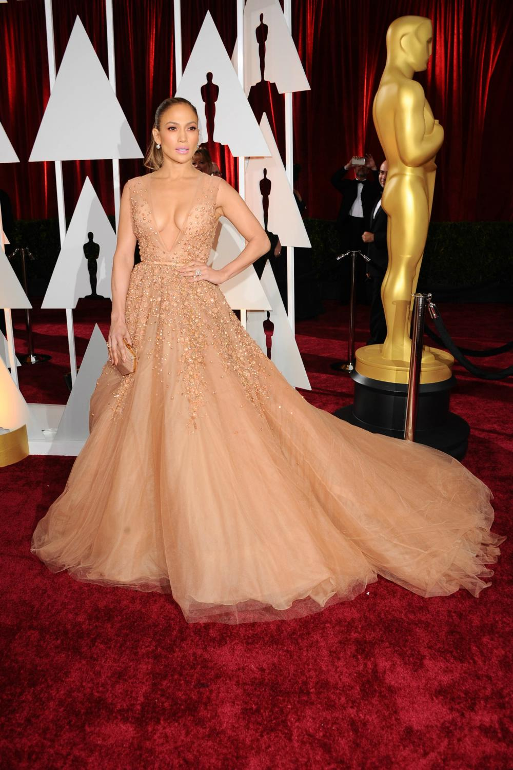 Jennifer lopez nude evening prom gown celebrity dresses oscars 2015 red carpet