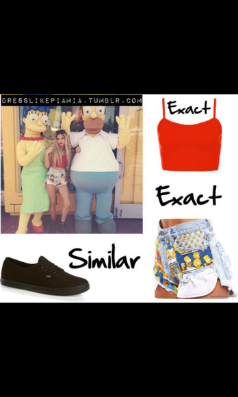 red tank top the simpsons black vans vans