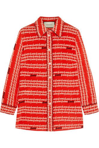 shirt silk red top