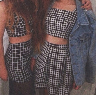 skirt top grid grunge soft grunge on point on point clothing clothes grid fashion grid skirt grid top romper