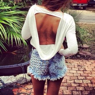 shorts denim shorts white top blouse white swag cute shirt open back beautiful fashion backless top skin cut-out summer top