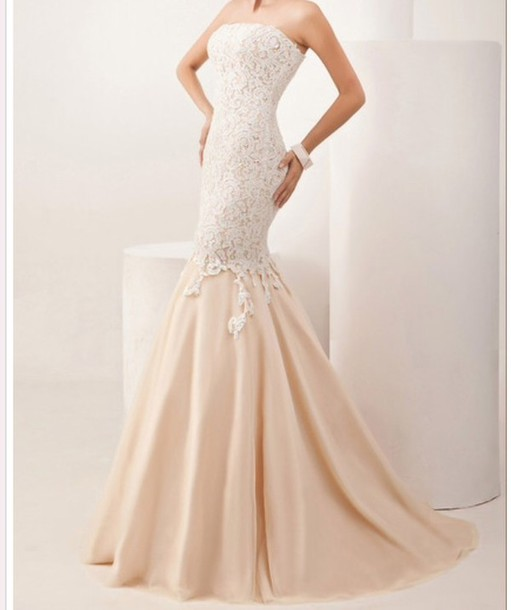 Dress: prom dress, strapless dress, nude, lace dress, cream ...