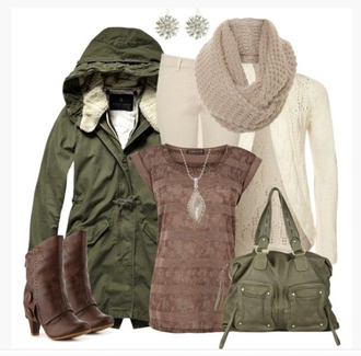 shoes top shirt t-shirt stripes tan jacket coat hooded hooded jacket pants scarf earrings cardigan ivory cardigan bag purse heels boots ankle wrapped boots ankle boots chocolate chocolate brown brown boots clothes outfit