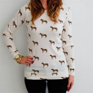 Horse Print Thermal Tee- $50 – Primp Clothing