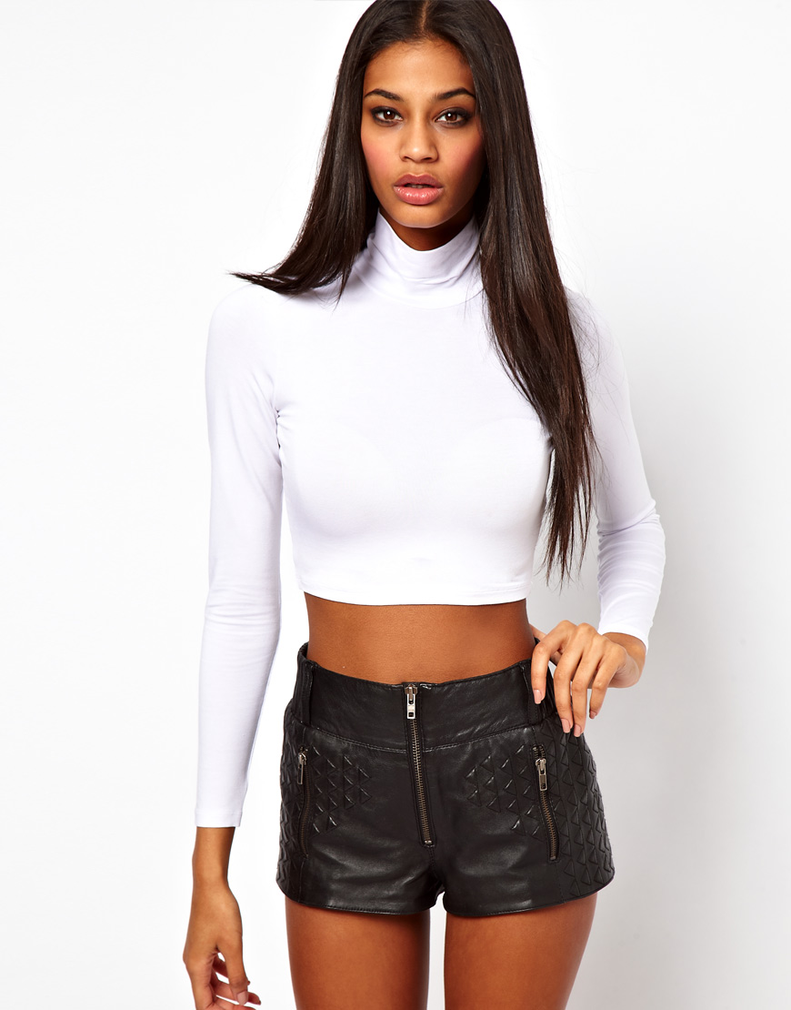 Asos collection white asos 90s rollneck crop top with long sleeve