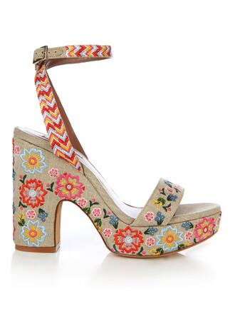 embroidered sandals platform sandals cream shoes