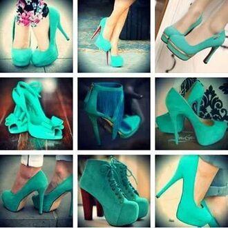 shoes heels mint fashion green blue high heels sandals pumps gold