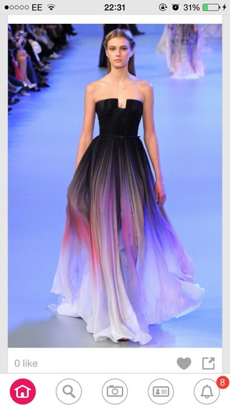dress elie saab designer beautiful prom couture dress ombre dress
