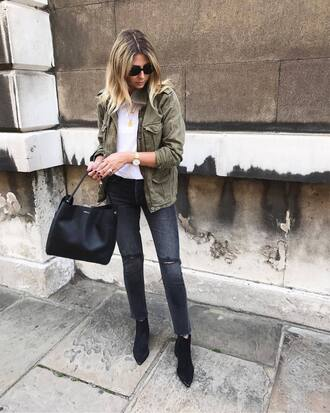jacket tumblr army green jacket top white top denim jeans black jeans skinny jeans boots black boots ankle boots bag black bag sunglasses