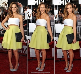 skirt chartreuse jessica alba flare skirt tube top white crop tops