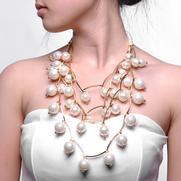Festive Season Golden Chain Pearl Beads Cluster Big Bib Statement Necklace Stylish And Generous