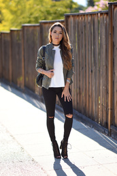 blogger,jacket,shoes,top,bag,jewels,hapa time,charlotte russe,angl,urban outfitters,black ripped jeans,pocket jacket,army green jacket,white top,ripped jeans,black jeans,backpack,black backpack,back to school,black choker,choker necklace,lace up boots,necklace