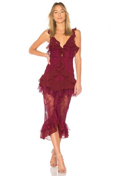 For Love & Lemons dress midi dress midi lace burgundy