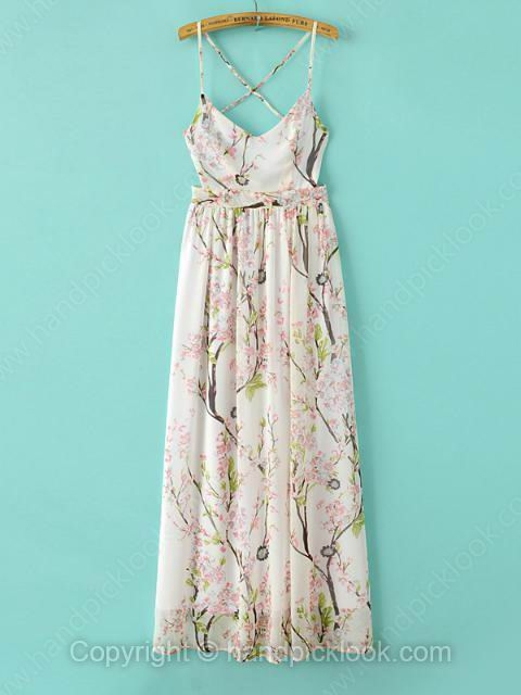 Beige Spaghetti Strap Sleeveless Floral Print Chiffon Dress - HandpickLook.com