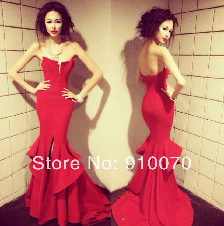 Stylish Strapless Sleeveless Front Slit Mermaid Long Red Tiered ...