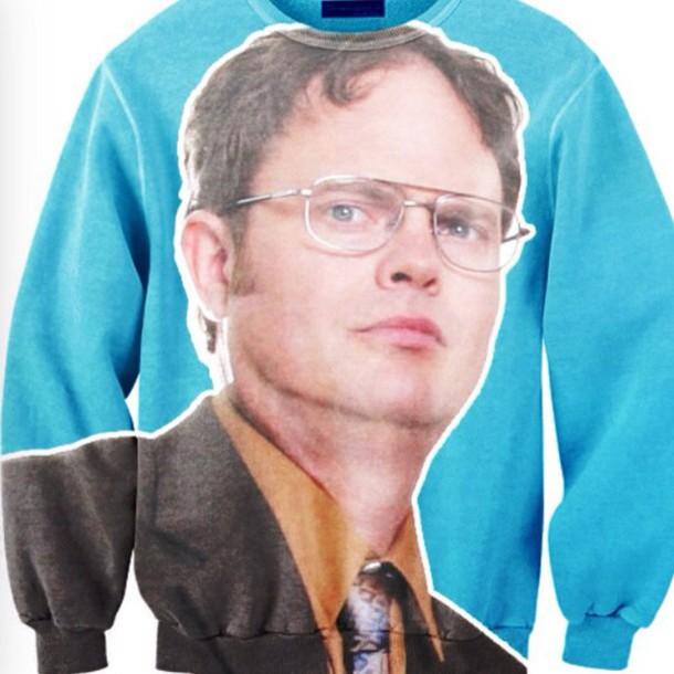 sweater dwight schrute blue blue sweater printed sweater jacket