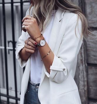 jewels ring jewelry watch bracelets white blazer blazer white shirt shirt jeans jacket