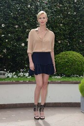 skirt,mini skirt,blouse,charlize theron,sandals,shirt,spring outfits