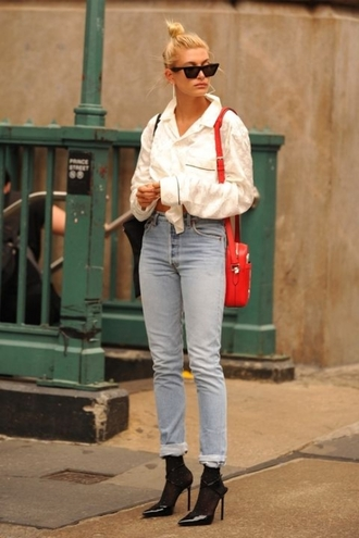 le fashion image blogger sunglasses top pajamas bag jeans