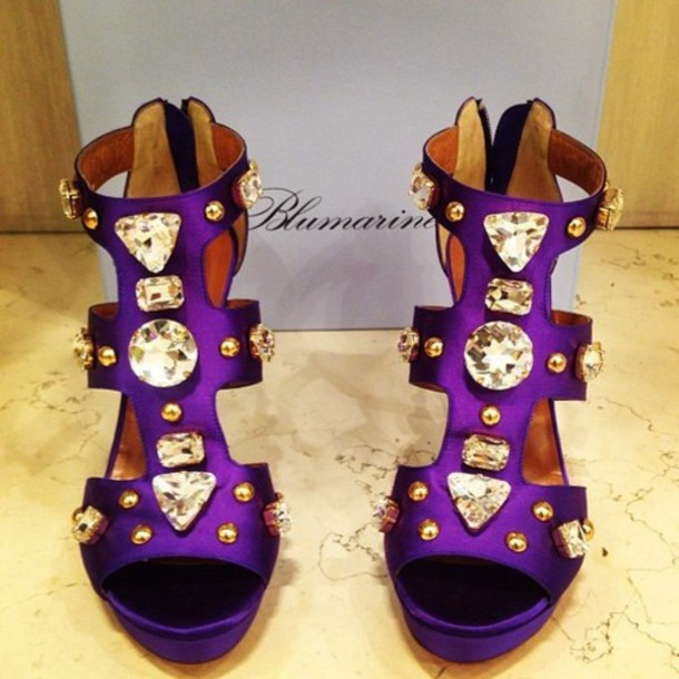 Shoes: purple, diamonds, gold, royal, heels, pumps, big, big ...