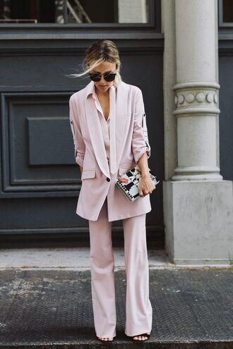 pants neutral neutral colors pink blazer bag sunglasses sandals